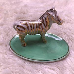 New Anthropologie zebra safari jewelry zenny dish